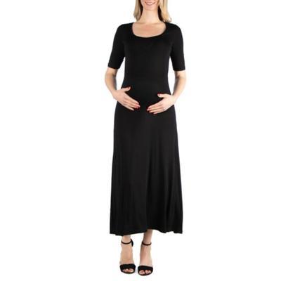 24seven Comfort Apparel Black Maternity Elbow Sleeve Maxi Dress