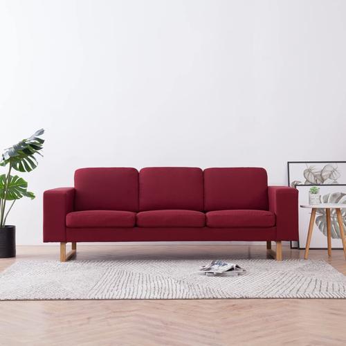 vidaXL 3-Sitzer-Sofa Stoff Weinrot