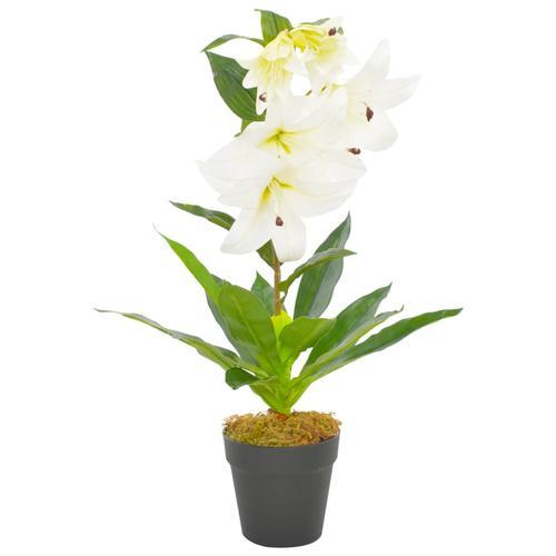 vidaXL Künstliche Lilie mit Topf Weiß 65 cm