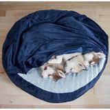 FurHaven Microvelvet Snuggery Gel Top Covered Cat & Dog Bed w/Removable Cover, Navy, 35-in