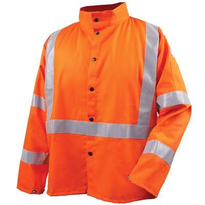 Revco Black Stallion 9oz Orange Safety Welding Jacket w/FR Reflective Tape
