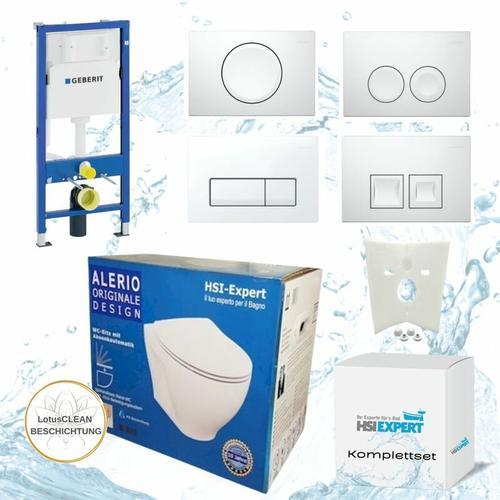 Vorwandelement + Alerio WC + Drückerplatte + WC-Sitz Delta51 - Geberit