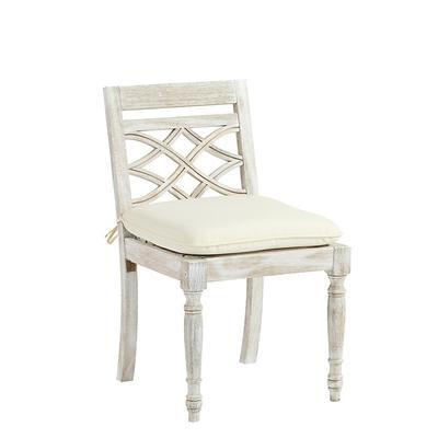Ceylon Whitewash Side Chair Replacement Cushion Canvas Granite Sunbrella - Ballard Designs