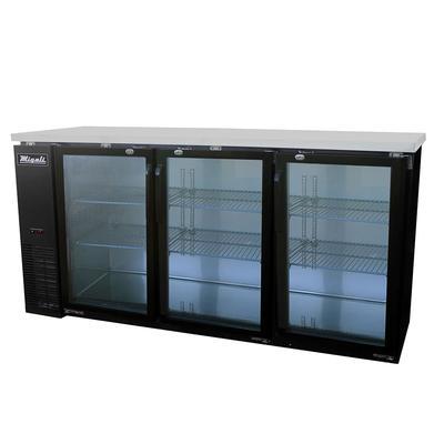 """Migali C-BB72G-HC 72 4/5"""" Bar Refrigerator - 3 Swinging Glass Doors, 115v"""