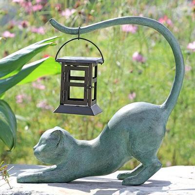 Stretching Cat Outdoor Garden Sculpture Gray , Gray