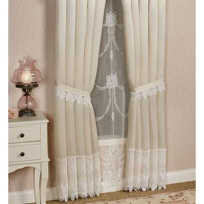 Trousseau Lace Tailored Curtain Pair, 112 x 84, Ivory