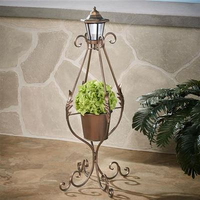 Planter with Solar Lantern Copper , Copper