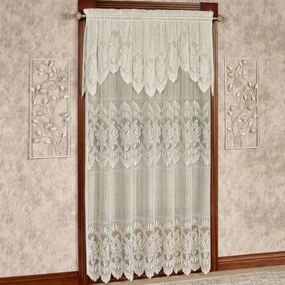 Adelina Lace Curtain Panel with Valance, 60 x 63, Antique Gold