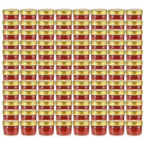 vidaXL Marmeladengläser mit goldenem Deckel 96 Stk. 110 ml