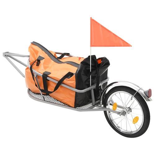 vidaXL Gepäck-Fahrradanhänger mit Tasche Orange und Schwarz