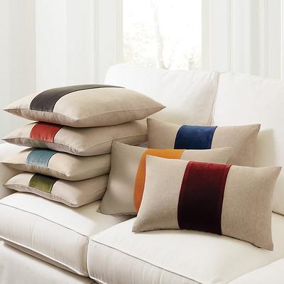 "Velvet Colorblock Linen Pillow Cover Natural/Slate 20"" x 20"" - Ballard Designs"