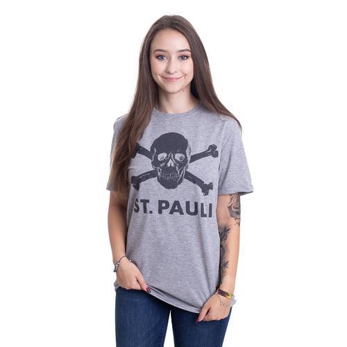 FC St. Pauli - Totenkopf Grey - - T-Shirts