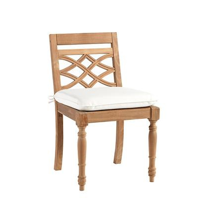 Ceylon Teak Side Chair Replacement Cushion Canvas Red Sunbrella - Ballard Designs