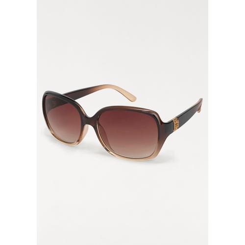 J.Jayz Sonnenbrille, Oversize Look, Retro Style braun Damen Runde Sonnenbrille Sonnenbrillen Accessoires
