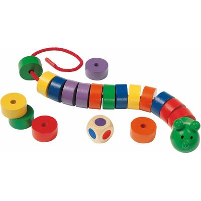 Selecta Spiel Fädelraupe, aus Holz, Made in Germany bunt Kinder Ab 3-5 Jahren Altersempfehlung