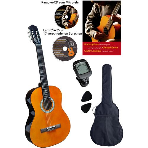 Clifton Konzertgitarre Konzertgitarren ¼, 1/4, Komplettset beige Audio SOFORT LIEFERBARE Technik