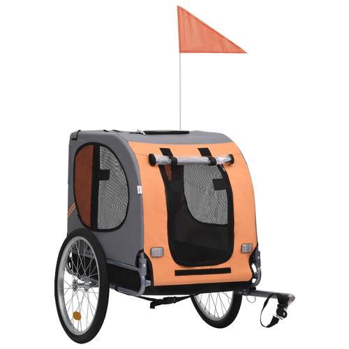 vidaXL Hunde-Fahrradanhänger Orange und Braun