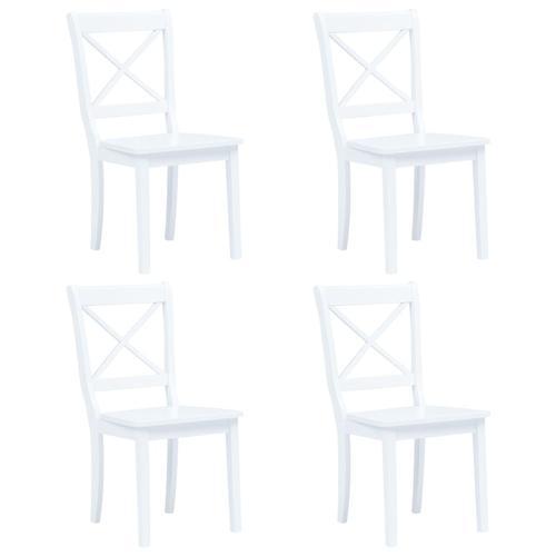 vidaXL Esszimmerstühle 4 Stk. Weiß Gummiholz Massiv