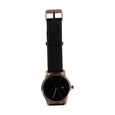 STYLECREEP ACCESSORIES - 44 Mm Black Face Rose Gold Crown 22 Mm Black Leather Strap Date Watch