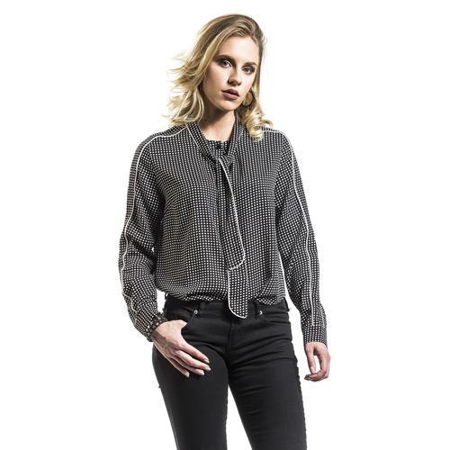 Fashion Victim Gepunktete Bluse Damen-Bluse - schwarz weiß