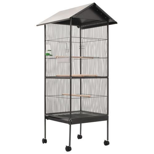 vidaXL Vogelkäfig mit Dach Grau 66 x 66 x 155 cm Stahl