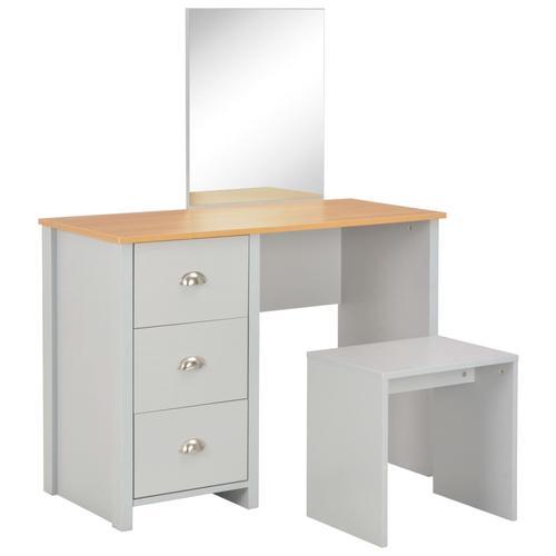 vidaXL Schminktisch mit Spiegel und Hocker Grau 104 x 45 x 131 cm