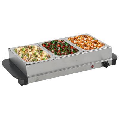 vidaXL Serveur buffet Acier inoxydable 200 W 3x1,5 L