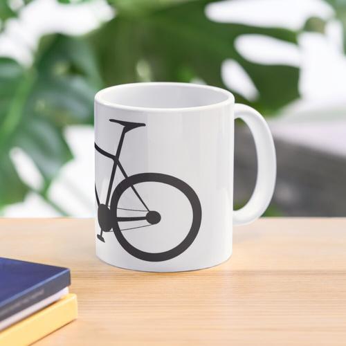 Rennrad. Rennrad, Fahrrad, Fahrrad, Rennrad, Push-Bike, Schwarz auf Weiß. Tasse
