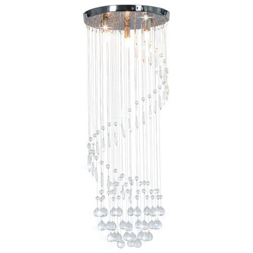 vidaXL Deckenleuchte mit Kristallperlen Silbern Spirale G9