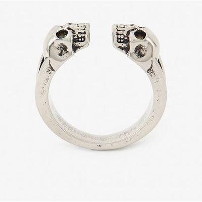 Engraved Skull Silver Ring - Met...