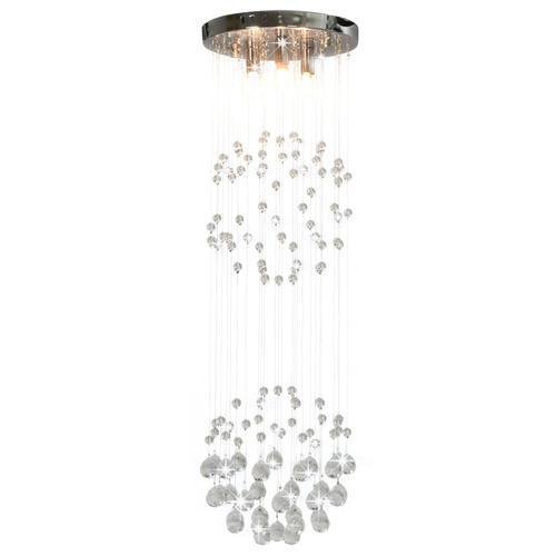 vidaXL Deckenleuchte mit Kristallperlen Silbern Kugel 3x G9 Glühbirnen