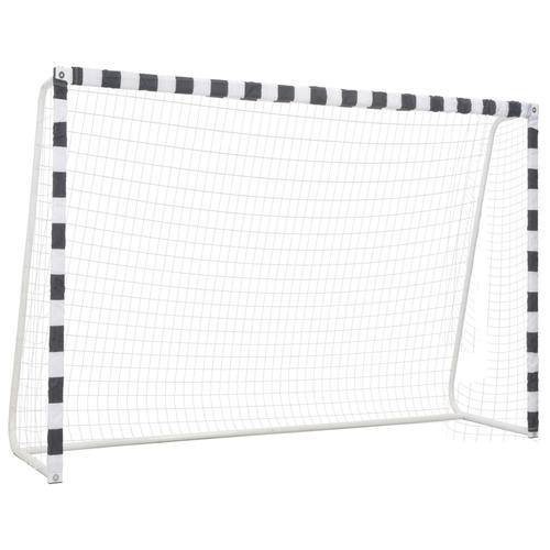 vidaXL Fußballtor 300 x 200 x 90 cm Metall Schwarz und Weiß