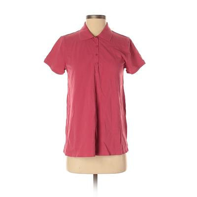 DuO Short Sleeve Polo Shirt: Pink Solid Tops - Size Small