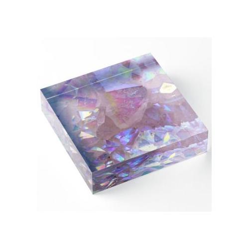 Rosa Aura-Kristalle Acrylblock