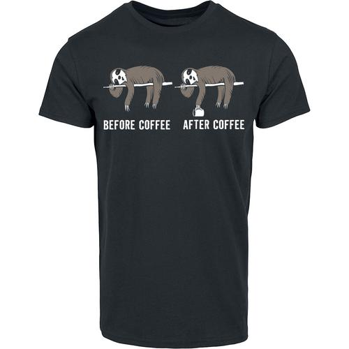 Before Coffee After Coffee Herren-T-Shirt - schwarz