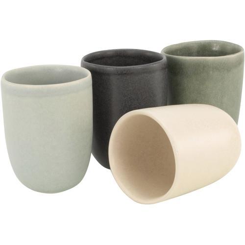 CreaTable Becher Pietra, (Set, 4 tlg.), Steinzeug, jedes Stück ein Unikat bunt Tassen Geschirr, Porzellan Tischaccessoires Haushaltswaren