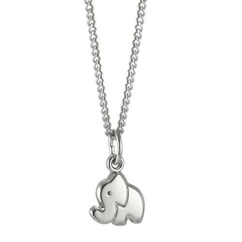 Halskette mit Anhänger Silber Elefant 36 cm Ø8.5 mm