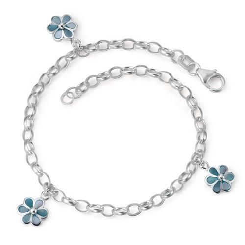 Armband Silber Perlmutt Blume 18 cm
