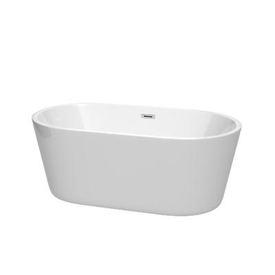 60 inch Freestanding Bathtub in White with Polished Chrome Drain and Overflow Trim - Wyndham WCOBT101260