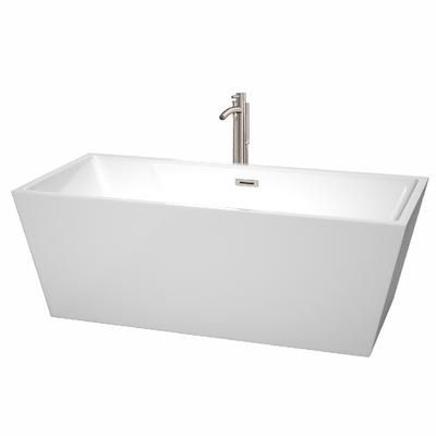 67 inch Freestanding Bathtub in White with Floor Mounted Faucet, Drain and Overflow Trim in Brushed Nickel - Wyndham WCBTK151467ATP11BN