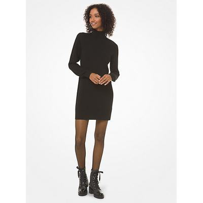 Michael Kors Ribbed Turtleneck Sweater Dress Black XS