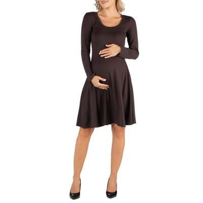 24seven Comfort Apparel Brown Maternity Long Sleeve Flared T-Shirt Dress