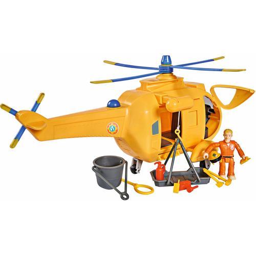 SIMBA Spielzeug-Hubschrauber Feuerwehrmann Sam, Hubschrauber Wallaby II mit Figur und Sound gelb Kinder Ab 3-5 Jahren Altersempfehlung