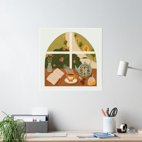 Tea Time am Fenster Poster