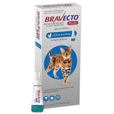 Bravecto Plus For Medium Cats (6.2 To 13.75 Lbs) Blue 3 Doses