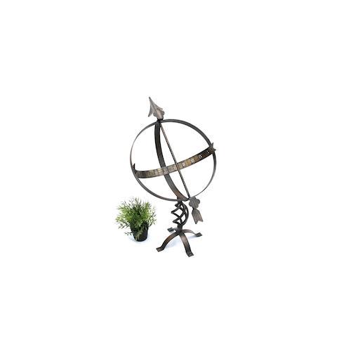 Sonnenuhr Uhr aus Metall Schmiedeeisen Wetterfest 72 cm Patina Gartendekoration