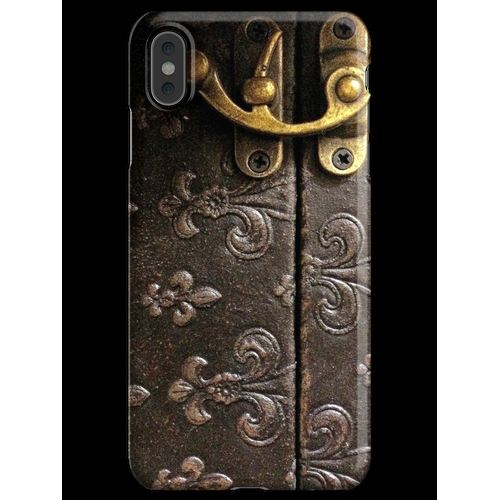Rustick Antikes Fleur-De-Lis Leder und Schloss Design iPhone XS Max Handyhülle