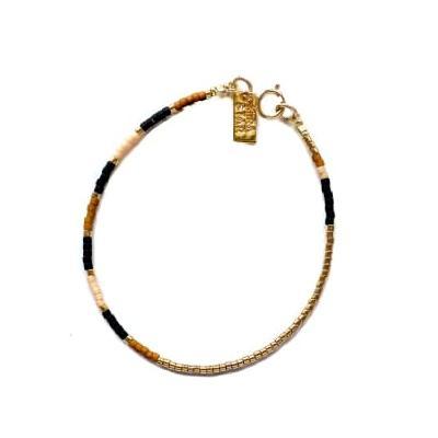 Mira Star - Bracelet Dani with 24k Gold-plated Glass Beads - Blush Pink - pink - Pink/Pink