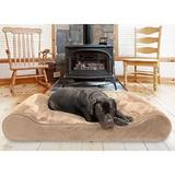 FurHaven Minky Plush Luxe Lounger Memory Foam Dog Bed w/Removable Cover, Camel, Giant