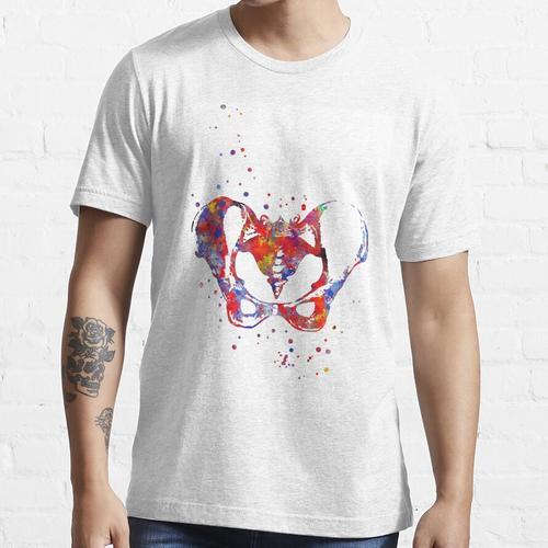 Weibliche Knochen des Beckens, weibliches Becken, Knochen, Aquarellbecken, Becken Essential T-Shirt